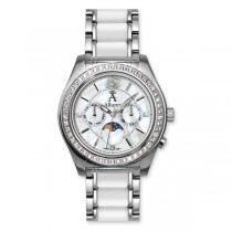 Allurez Women's White Topaz Moonphase Watch w/ Mother of Pearl Dial
