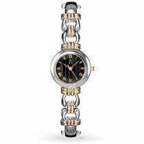 Allurez Women's Black Dial Roman Numeral Two-Tone Bracelet Watch