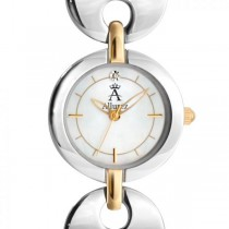 Allurez Two-Tone Diamond Solitaire Dial Fashion Watch Mother of Pearl