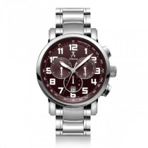 Allurez Men's Stainless Steel Burgundy Dial Chronograph Swiss Watch