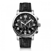 Allurez Men's Black Crocodile Strap Swiss Chronograph Watch