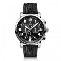 Allurez Men's Black Crocodile Strap Swiss Chronograph Watch