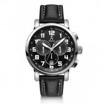 Allurez Men's Black Leather Dial Swiss Chronograph Watch