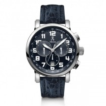 Allurez Men's Blue Crocodile Strap Swiss Chronograph Watch