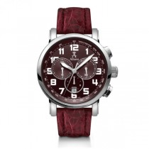 Allurez Men's Burgundy Crocodile Strap Swiss Chronograph Watch