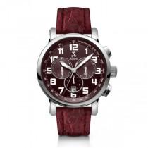 Allurez Men's Burgundy Crocodile Strap Swiss Chronograph Watch