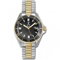 Allurez Two-Tone Tachymeter Luxury Diver Watch Stainless Steel for Men