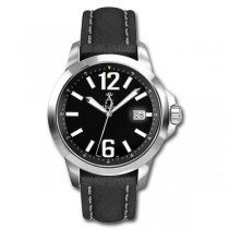 Allurez Men's Stainless Steel & Leather Luminous Diver Watch Luxury