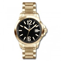 Allurez Men's Gold-Tone Stainless Steel Diver Watch Swiss Made