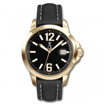 Allurez Men's Gold-Tone Stainless Steel & Leather Diver Watch Swiss
