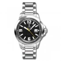 Allurez Mens Stainless Steel Bold-Design Carbon-Fiber Dial Diver Watch