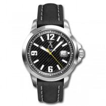Allurez Men's Leather Strap Bold-Design Carbon-Fiber Dial Diver Watch