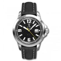 Allurez Men's Leather Strap Bold-Design Carbon-Fiber Dial Diver Watch