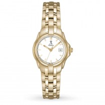 Allurez Women's White Dial Gold-tone Stainless Steel Luminous Watch