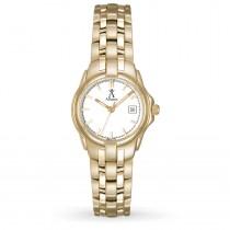 Allurez Women's White Dial Gold-tone Stainless Steel Luminous Watch