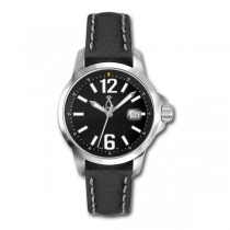 Allurez Unisex Stainless Steel & Leather Luminous Diver Watch Swiss