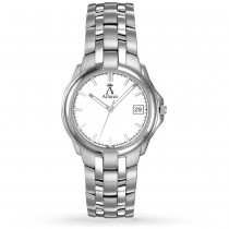 Allurez Men's White Luminous Dial w Date Stainless Steel Watch