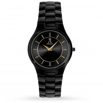 Allurez Men's Black Dial & Black-tone Stainless Steel Watch