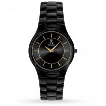 Allurez Men's Black Dial & Black-tone Stainless Steel Watch