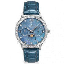 Allurez Women's Chronograph Blue Mother of Pearl Dial Watch