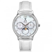 Allurez Women's Chronograph White Mother of Pearl Dial Watch