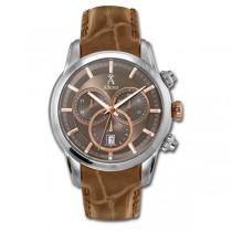 Allurez Men's Leather & Steel Chronograph Wrist Watch Swiss