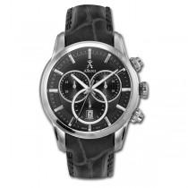 Allurez Men's Leather & Steel Chronograph Wrist Watch Swiss