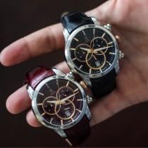 Allurez Men's Swiss Chronograph Black Dial Luminous Leather Watch