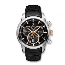 Allurez Men's Swiss Chronograph Black Dial Luminous Leather Watch