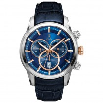 Allurez Men's Swiss Chronograph Blue Dial Luminous Leather Watch