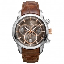 Allurez Men's Swiss Chronograph Brown Dial Luminous Leather Watch