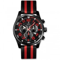 Allurez Carbon Fiber Dial Leather & Canvas Sports Chronograph Watch