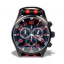 Allurez Carbon Fiber Dial Leather & Canvas Sports Chronograph Watch