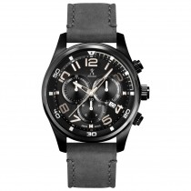 Allurez Men's Swiss Chronograph Leather Black Dial Watch