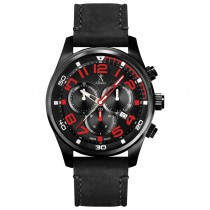 Allurez Men's Swiss Chronograph Leather Black Dial Watch