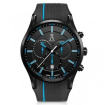Allurez Men's Swiss Chronograph Stainless Steel Rubber Strap Watch