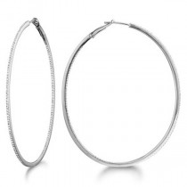 Inside-Outside Pave Oval Diamond Hoop Earrings 14k White Gold (0.50ct)