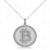Small Diamond Bitcoin Pendant Necklace 14k White Gold (0.38ct)