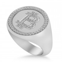 Diamond Cryptocurrency Bitcoin Men's Ring 14k White Gold (0.34ct)