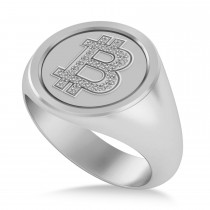 Diamond Cryptocurrency Bitcoin Men's Ring 14k White Gold (0.14ct)