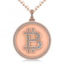 Large Diamond Bitcoin Pendant Necklace 14k Rose Gold (1.21ct)