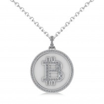 Large Diamond Bitcoin Pendant Necklace 14k White Gold (1.21ct)