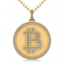 Large Diamond Bitcoin Pendant Necklace 14k Yellow Gold (1.21ct)