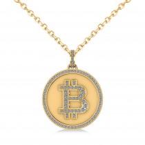 Large Diamond Bitcoin Pendant Necklace 14k Yellow Gold (1.21ct)