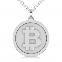 Large Cryptocurrency Bitcoin Pendant Necklace 14k White Gold