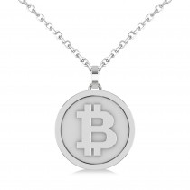 Large Cryptocurrency Bitcoin Pendant Necklace 14k White Gold|escape
