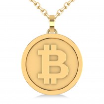 Large Cryptocurrency Bitcoin Pendant Necklace 14k Yellow Gold