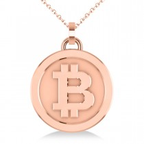 Medium Cryptocurrency Bitcoin Pendant Necklace 14k Rose Gold