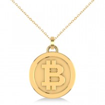 Medium Cryptocurrency Bitcoin Pendant Necklace 14k Yellow Gold|escape