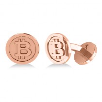 Cryptocurrency Bitcoin Cuff Link 14k Rose Gold